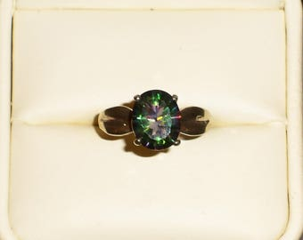 Green Mystic size 6 ring in .925 Sterling Silver