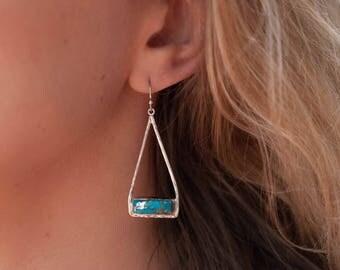 Copper Turquoise Dangle Earrings * Silver Plated * Triangulum * Triangular * Geometric * Lightweight * Statement * Gemstone *  BJE001C