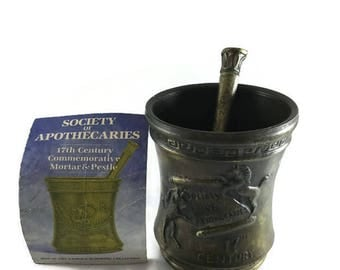 Schering Vintage Mortar and Pestle, Society of Apothecaries, Schering 20, 17th Century Commemorative Mortar and Pestle, Vintage Apothecary