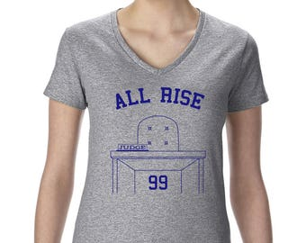 MLB Aaron Judge #99 New York Yankees All Rise Graphic Women's V-Neck T-Shirt