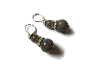 """Retro victorian earrings with labradorite beads and silver 925 earrings, """"Hanae"""""""