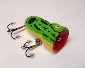 Fishing Lure, Bass popper, Handcrafted, handpainted, custom bass popper fishing lure