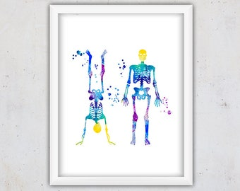 Digital Nursery Print, Human Skeleton Print, Anatomy Print, Watercolor Print Download, Printable Art, Instant Art Print, Kids Wall Art, Teen