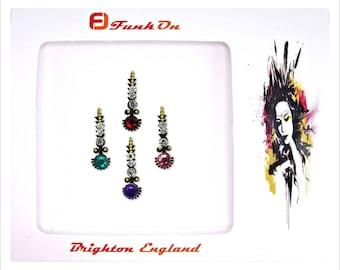 4 x multi-coloured bindi glitter crystal self adhesive diamante Face gem bridal tikka dot bollywood festival d1