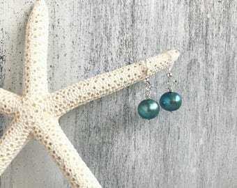 Blue freshwater pearl earrings - handmade in Hawaii