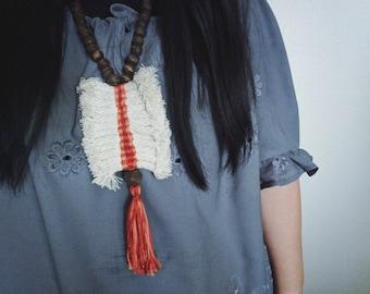12 Tribes Necklace-Orange/Wood
