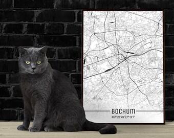 Bochum-Just a map-din A4/A3-Print