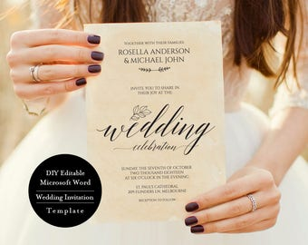 Printable Wedding Invitation Template, Wedding Invitation Template Download, Wedding Invitations Packages,  Kraft Wedding Invitation, MSW5