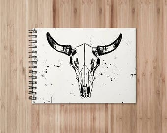 Bull Skull Notebook/Sketchbook Wire Bound - Blank pages