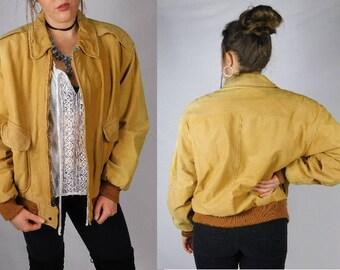 Vintage 1970s Aviation Jacket Vintage Bomber Jacket Leather Coat Zip Up Suede Leather Coat Soft Leather Jacket