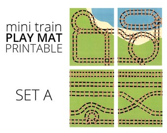 Mini Train Printable Play Mat - Set A. Train Birthday, Car Play Mat, Quiet Toy, Road trip Toy, Printable Play Mat, Travel Play Kids Placemat