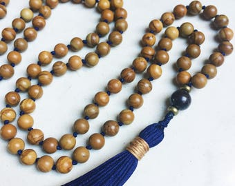 Wood Jasper Mala Necklace | Mala Beads | 108 Mala Beads | Mala Jewelry | Prayer Beads | Meditation Beads | Boho Jewelry |
