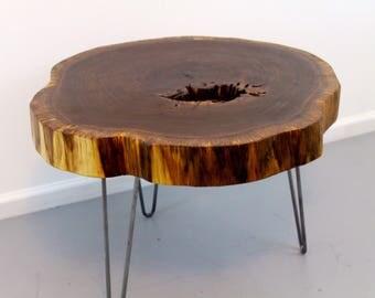 "Walnut end/coffee table 28"" around 18"" high"