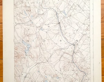 Antique Buxton Maine 1892 Us Geological Survey Topographic Map Limington Standish Waterboro