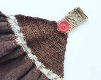 Crocheted Tea Towel - Brown with Chocolates - Crochet Pattern Kitchen Dish Towel - CTEA26