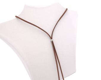 Choker necklace collar ring Brown silver