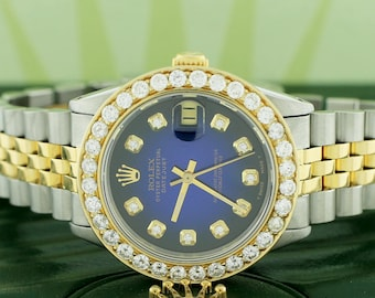 Rolex Datejust 2-Tone Gold/Steel 31mm Womens Watch w/Blue Diamond Dial & 2.25Ct Bezel