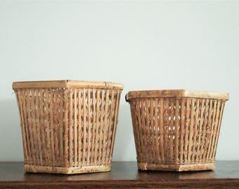 Vintage Boho Wicker Hexagonal Planters - Nesting Woven Baskets - Set of 2