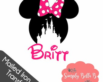 Minnie Castle Personalized IRON ON TRANSFER Mailed Design - Diy - Disney Trip - Vacation