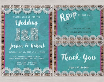 Blue Wedding invitation - Lace Wedding Invitation - Vintage Wedding Invitation - Lace - invite rsvp thank you card - Printable design