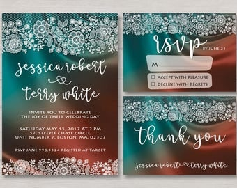 Colorful Wedding Invitation - Colorful Wedding - Blue Wedding - Wedding Invitation - Lace Wedding Invitation -  Invite RSVP Thank You Card