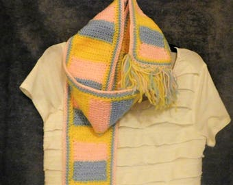 Pink Blue Yellow Crochet Scarf