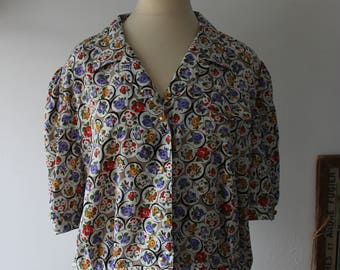 Vintage French floral silk shirt