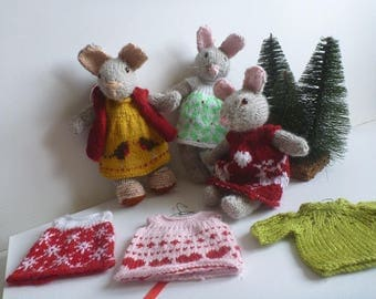Amigurumi Mousie Mouse dress with hearts or red jacquard