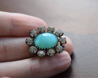 Vintage Turquoise Blue Glass Cabochon Rhinestone Pendant Charm