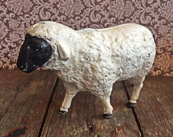 Cast Iron Painted Hubley Sheep Bank