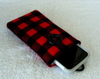 "Buffalo Plaid IPhone Case, Cell Phone Case, Cell Phone Cover, IPhone Cover, IPhone 6 Case, IPhone 7 Case, Cell Phone Sleeve, 6 1/2"" x 3 1/2"""