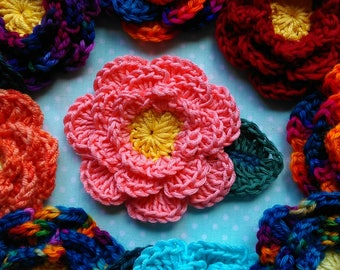 Crochet Flower Brooch. Handmade flower brooch. Crochet pin. Shawl pin.