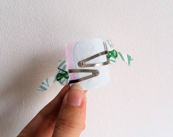 Mini hair clips Click - Clack village green floral fabric