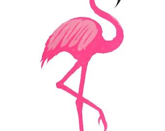 Pink flamingo screen print, flamingo illustration, flamingo print, animal print