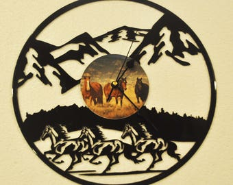 Western Horses themed Vinyl Album Record Clock made in the > USA < with FREE Shipping!