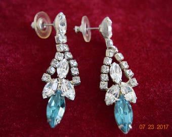Vintage Pierced Blue And Clear Rhinestone Earrings, Silver Tone