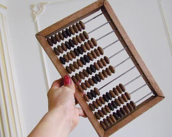 Vintage Abacus Small Abacus Old Wooden Abacus Office Decor Rustic Home Decor School Calculator Old Abacus Wood Calculator Soviet Abacus