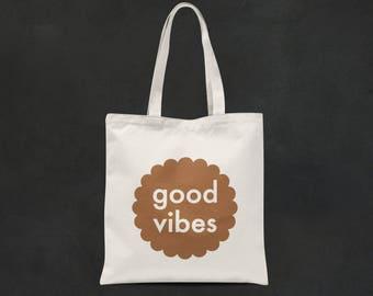 Good Vibes Copper Print Tote Bag