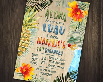 Aloha Birthday Invitation, Pineapple Birthday Invitation, Luau Birthday Invitation, Hawaiian Birthday Invitation, Luau Party, Aloha Party