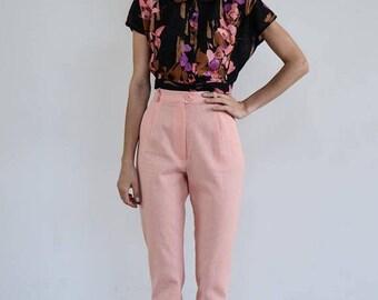 30% OFF High Waisted Linen Pants /Pink Pants/ Vintage Pants / High Waist Trousers / Vintage Trousers / High Waist Pants/ Linen Pants/ Pleate
