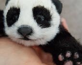 MADE TO ORDER Mini Panda Bear Poseable Art Doll Realistic Stuffed Animal Handmade Animal Doll Poseable Panda Plush