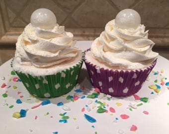 Handmade Bath Bomb Cupcakes with Foaming Bath Butter & Soap Embed 8oz.