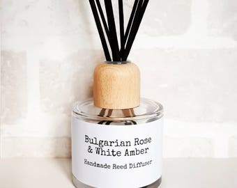 Rose Amber diffuser, reed diffuser, Handmade diffuser, Floral reed diffuser, Home fragrance, Home scents, Luxury diffuser, Gift for her