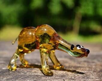 Blown Glass bear figurine animals glass bear glass miniature art glass bear figurine murano bear tiny figurine artglass figure glass bears