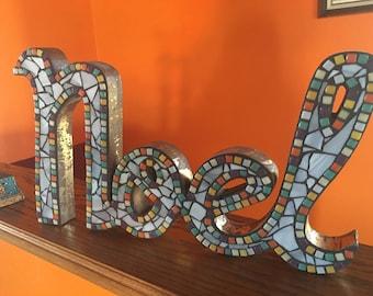 Noel wood word mosaic sign