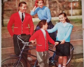 1959 Vita Spun Hand Knits for the Family Original Knitting Pattern Book Not a PDF