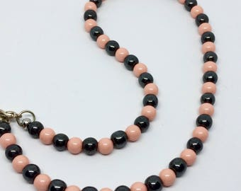 Pink and gray beaded necklace