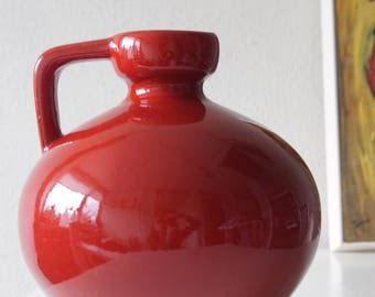 Mid Century, red vase, West Germany