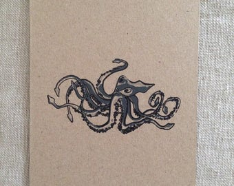 Octopus Black Card, greeting card, blank card, kraft paper, rustic card, raw, any occasion card, organic card, nature, sea creature card