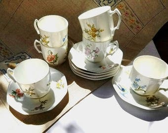 Tea Cups and Saucers – Tiny Flowers on White – Set of 6 Vintage